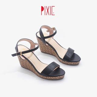 Giày Sandal Đế Xuồng 7cm Quai Ngang Đế Đan Tre Màu Đen Pixie X451