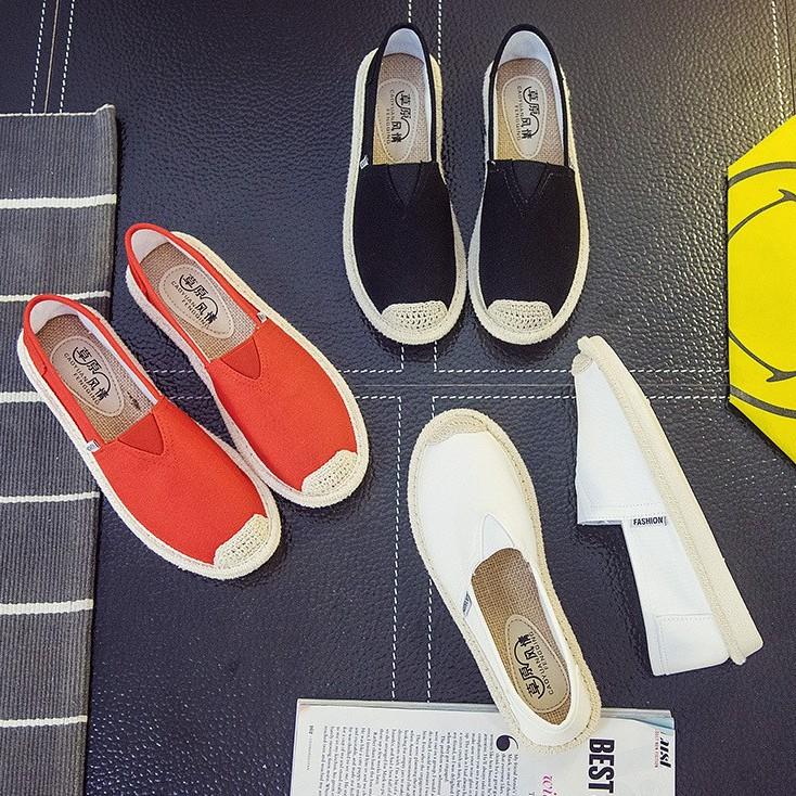 Slip on cói nữ - Giày lười vải nữ cao cấp - 3 màu đen, đỏ và trắng - Mã SP B17