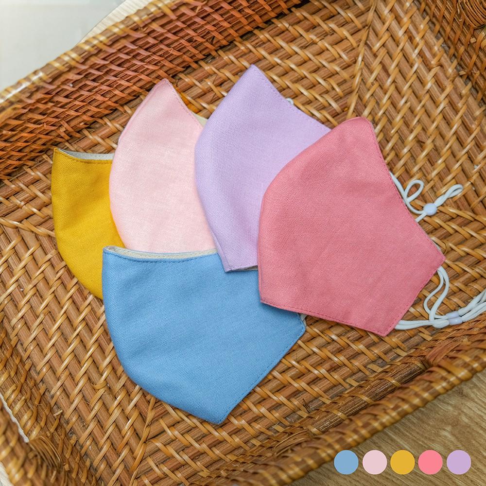 Khẩu Trang Linen Nemo Handmade 3 lớp màu Pastel Hàn Quốc, có nút tăng giảm dây tiện lợi