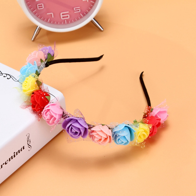 Sweet Candy Color Children Foam Flower Headbands Wreath Flowers Crown Headpiece Hair Accessories