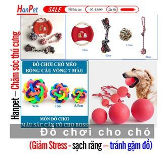 (Nhiều loại) Banh cho chó (Bóng tết thừng, banh 7 sắc, bóng tập cắn) đồ chơi chó mèo banh chó nhai sạch răng
