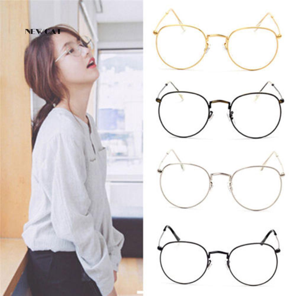 ღNK_Vintage Women Big Round Metal Frame Clear Lens Eyeglasses Retro Glasses Gift