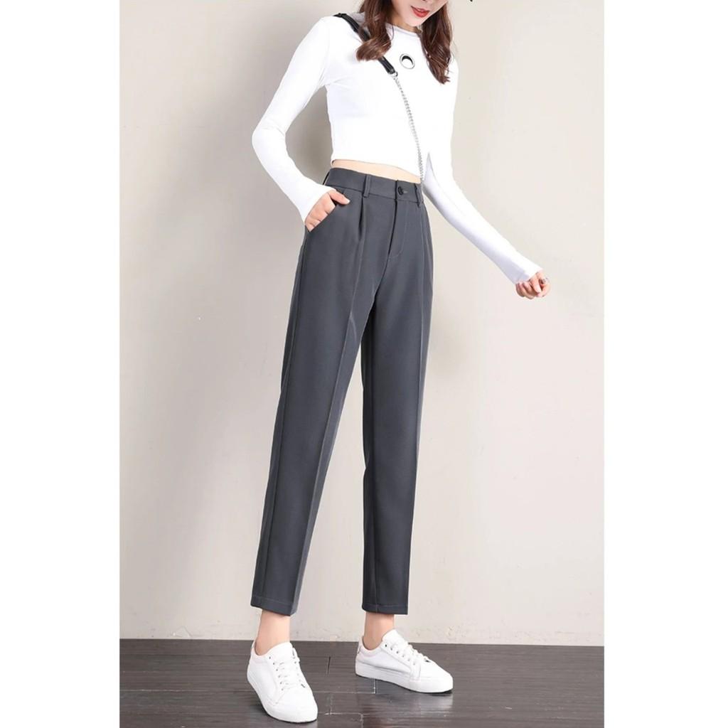 Mặc gì đẹp: Sang trọng với Quần tây nữ công sở lưng cao có đai bigsize dáng đứng ống dài Chất vải trơn - Quần baggy đen cạp cao nữ mặc đi học sinh