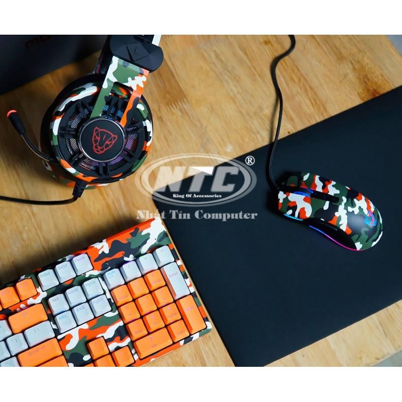 Bộ combo phím chuột tai nghe chơi game Motospeed GS700 cực chất (màu lính Cam) - Hãng Phân phối Chín