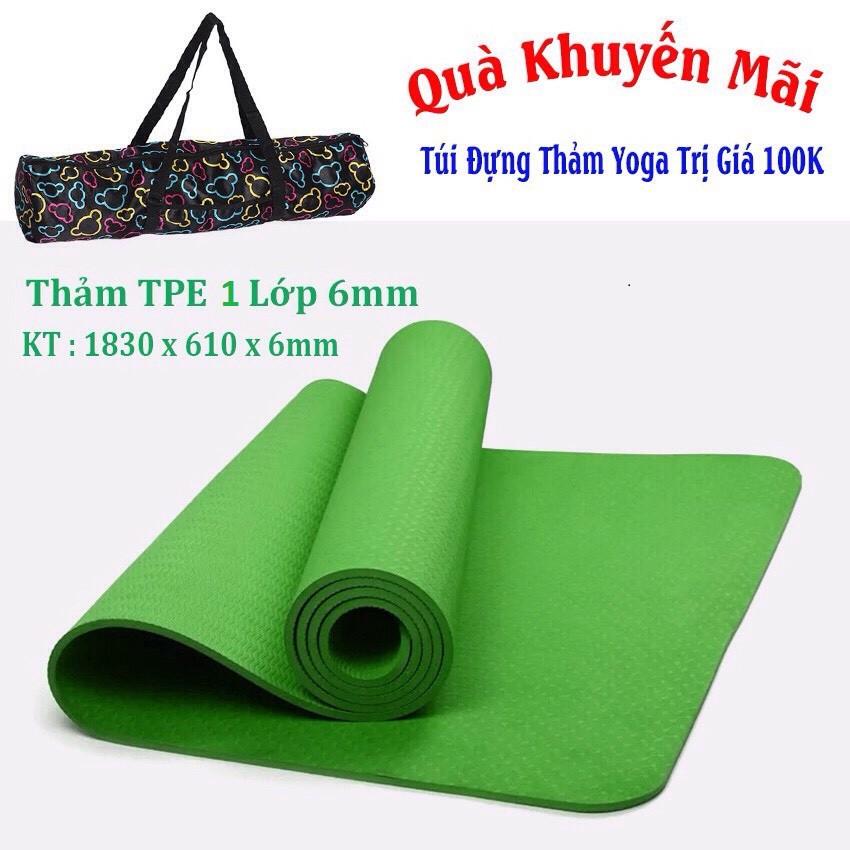 Thảm Yoga 1 Lớp 6mm TPE + Túi Đựng (Xanh Lá)