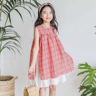 Váy trẻ em công chúa hồng kẻ caro Sophia V35