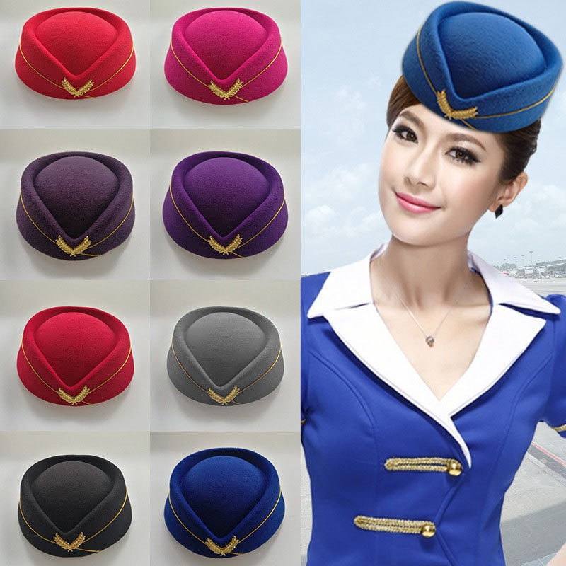 Autumn Winter Airline Stewardess Cap Imitation Wool Uniform Plane Stewardess Cap Cosplay Stage Perfo