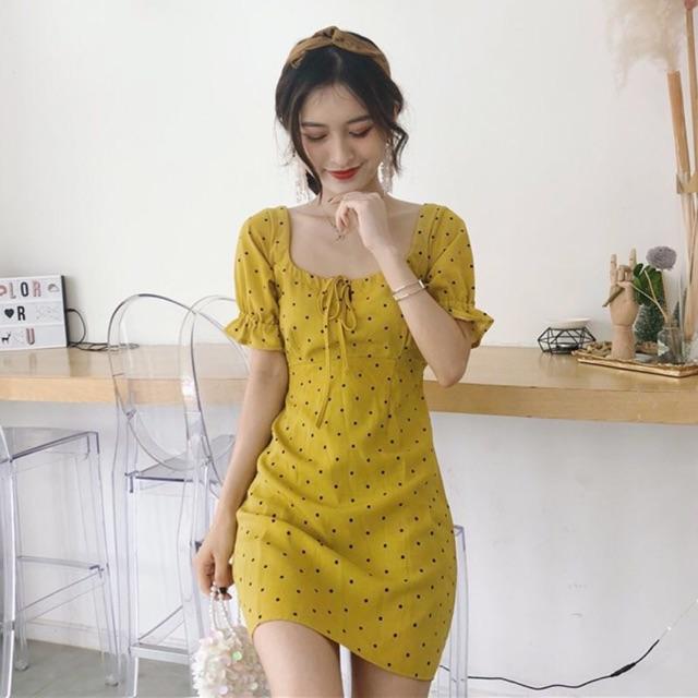 Váy cherry cổ vuông-váy vàng chấm bi cổ vuông