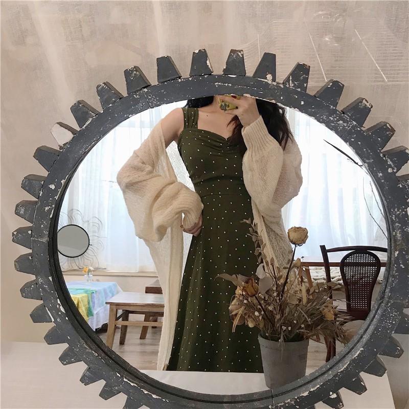 Đầm dài tay cổ tim phong cách Hàn Quốc thanh lịch dành cho nữ