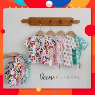 Bộ đồ mặc nhà chất thô họa tiết dễ thương cho bé size 80-130