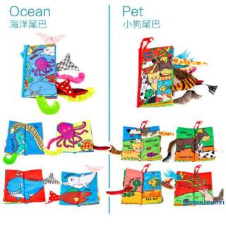 ❥☀✿SEESoft baby child 3D animal tail safety educational toy cognitive cloth book