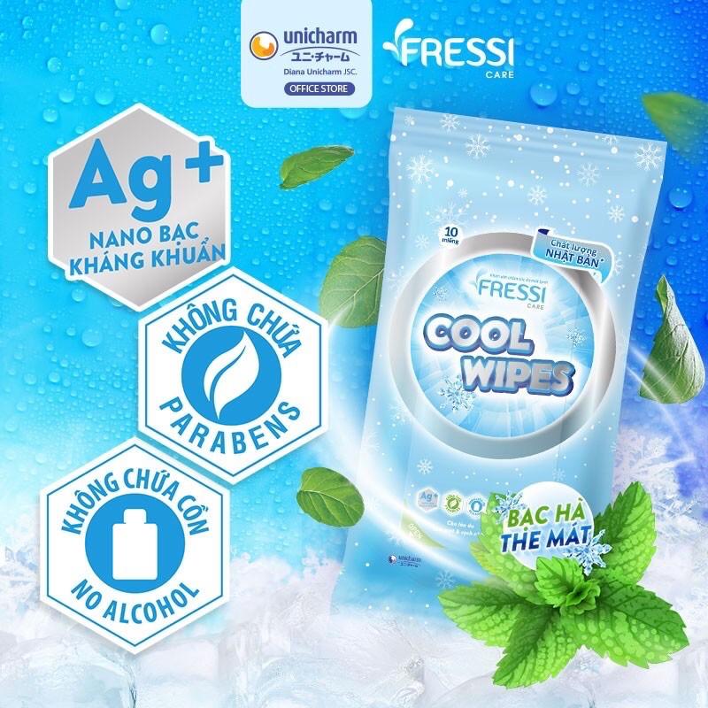 Khăn ướt chăm sóc da Fressi Care Cool gói 10 tờ ( khăn ướt bỏ túi )