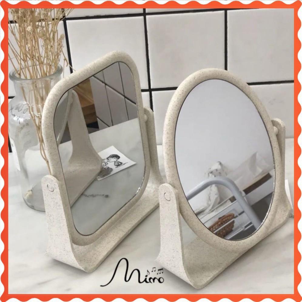 Gương trang điểm -gương để bàn mini -để bàn xoay 2 mặt chất liệu lúa mạch xịn đẹp Gương trang điểm để bàn