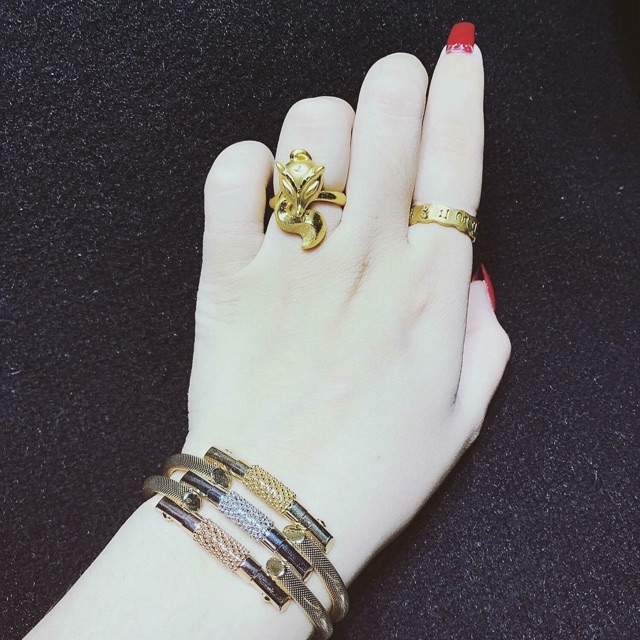 Nhẫn bạc si vàng hồ ly