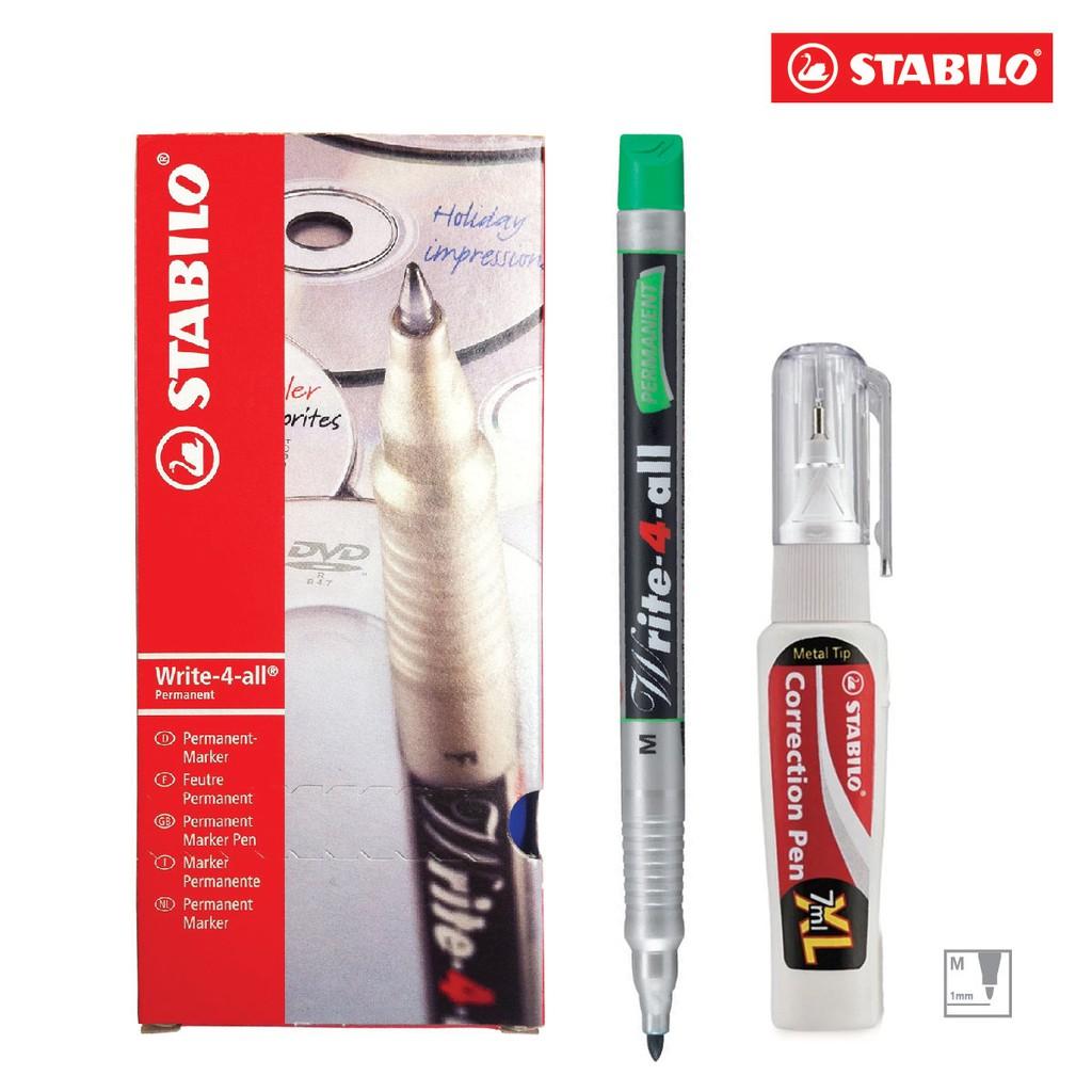 Hộp 10 cây bút kỹ thuật STABILO Write-4-all PERMANENT M 1.0mm (xanh lá) + Bút xóa Correction Pen CPS