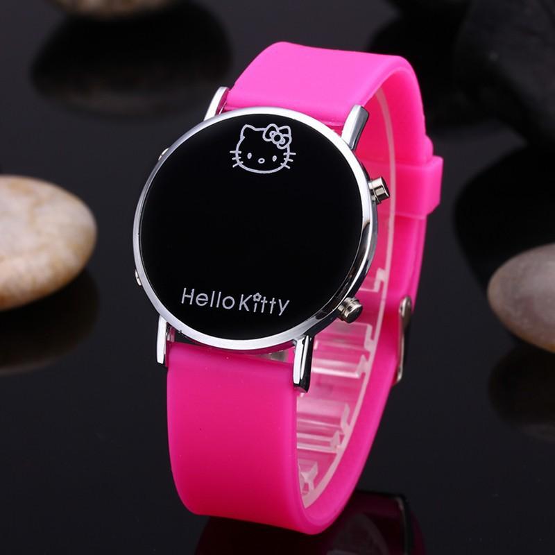 Đồng Hồ Điện Tử Dây Silicone Hình Hello Kitty