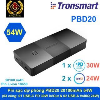 Pin sạc dự phòng Macbook Air TRONSMART PBD20 Brio 20100 mAh 54W (01 PD 30W & 02 VoltIQ 24W)
