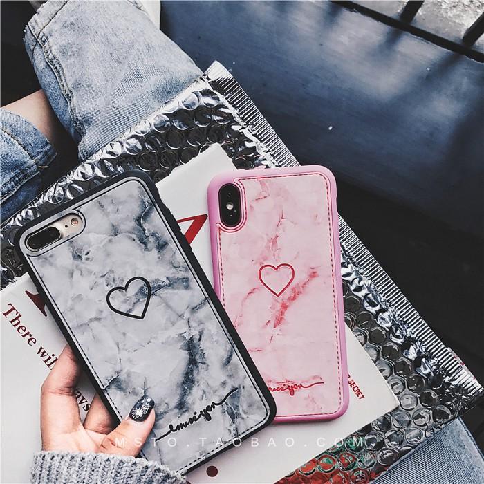 Ốp Tim Giả Da Vân Đá Cho iPhone