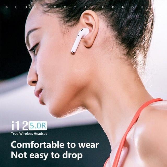 Tai nghe bluetooth 5.0 TWS i12 điều khiển cảm biến âm thanh có hỗ trợ đàm thoại bảo hành 1 đổi 1 do lỗi nhà sản xuất