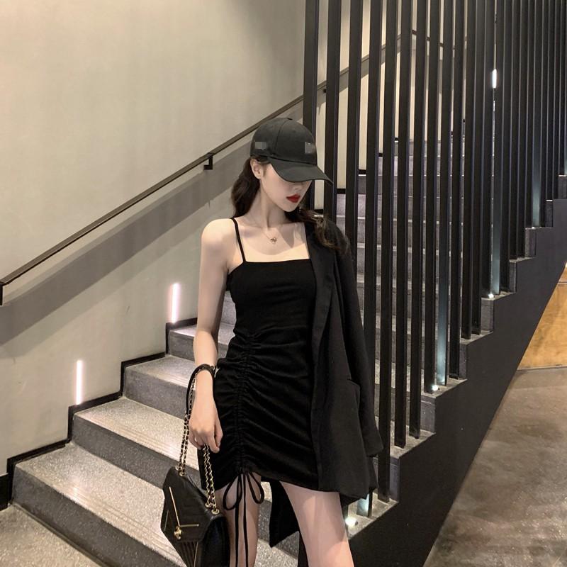 [Có s(Feacback phía sau] Váy body 2 dây đen rút sexy