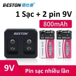 Bộ 2 Pin sạc 9V 800mAh tặng sạc hãng BESTON Pin sạc vuông 9V dung lượng cao Chuyên Mic karaoke  | Bảo hành 2 tháng