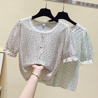 Lace Floral Shirt Women's Design Sense Niche Summer Loose Slim Fit Sweet Fresh Anti-Aging Top Fashion
