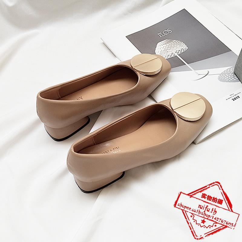 วตารางรองเท้าหญิงตื้นปากหนากับรองเท้ายายลมย้อนยุครอบหัวเข็มขัดรองเท้าทำงานรองเท้าส้นเตี้ยสีดำสั้นกับ
