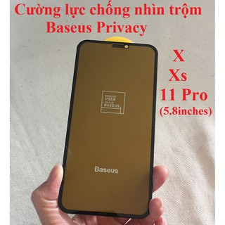 [Iphone X, Xs, 11Pro] Cường lực chống nhìn trộm full màn hình Baseus Privacy