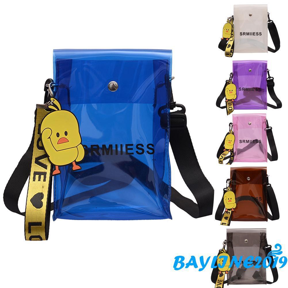 Túi đeo chéo nhựa trong in chữ thời trang và trẻ trung cho nữ