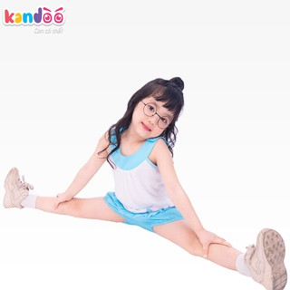 Bộ đồ sát nách bé gái KANDOO màu trắng viền xanh, thoải mái hoạt động, thoáng mát, an toàn cho bé - DG16SH02