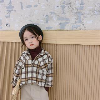 Áo dài tay chất len họa tiết caro dễ thương xinh xắn cho bé