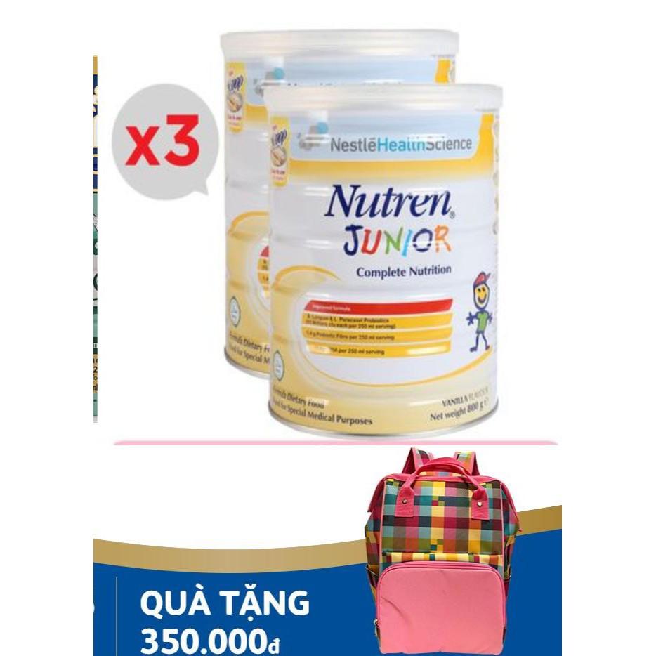 bộ 2 lon Nutren Junior 800g. Hỗ trợ tăng cân hiệu quả. Sữa chính hãng Nestlé Thụy Sĩ.