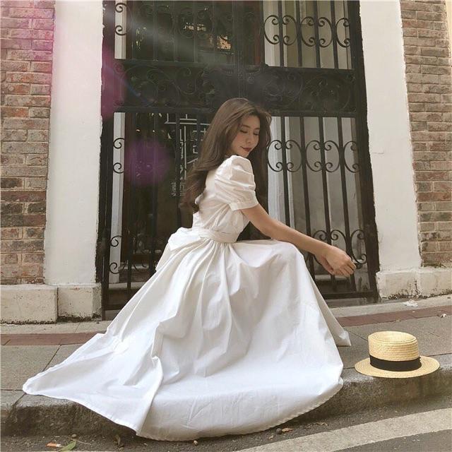 (R53) đầm ulzzang công chúa 3 size S M L order 6-9 ngày(sẵn s m trắng)