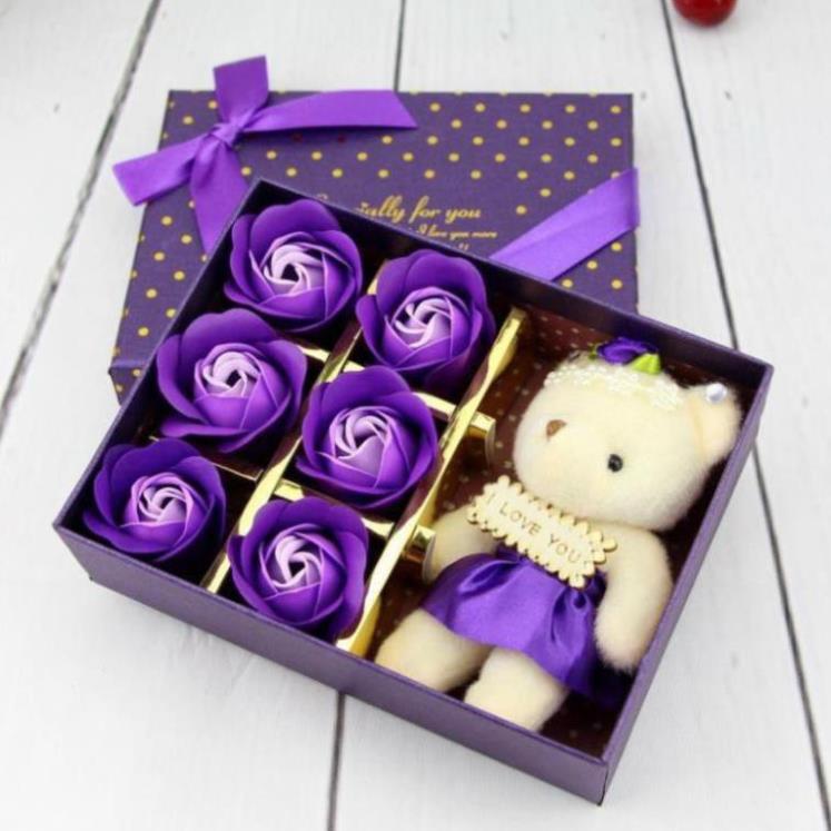 Hộp Hoa Hồng 6 Bông Kèm Gấu, tặng kèm thiệp chúc mừng - TÍM LÃNG MẠNG