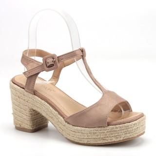 Sandal cao gót đế xuồng. Poti-Pati. LE372-Kaki thumbnail