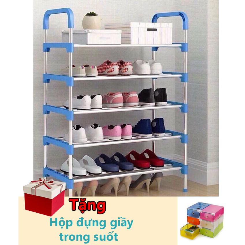 Kệ để giày dép đa năng 5 tầng khung thép tặng kèm 1 hộp đựng giầy trong suốt - 3599153 , 1276420964 , 322_1276420964 , 149000 , Ke-de-giay-dep-da-nang-5-tang-khung-thep-tang-kem-1-hop-dung-giay-trong-suot-322_1276420964 , shopee.vn , Kệ để giày dép đa năng 5 tầng khung thép tặng kèm 1 hộp đựng giầy trong suốt