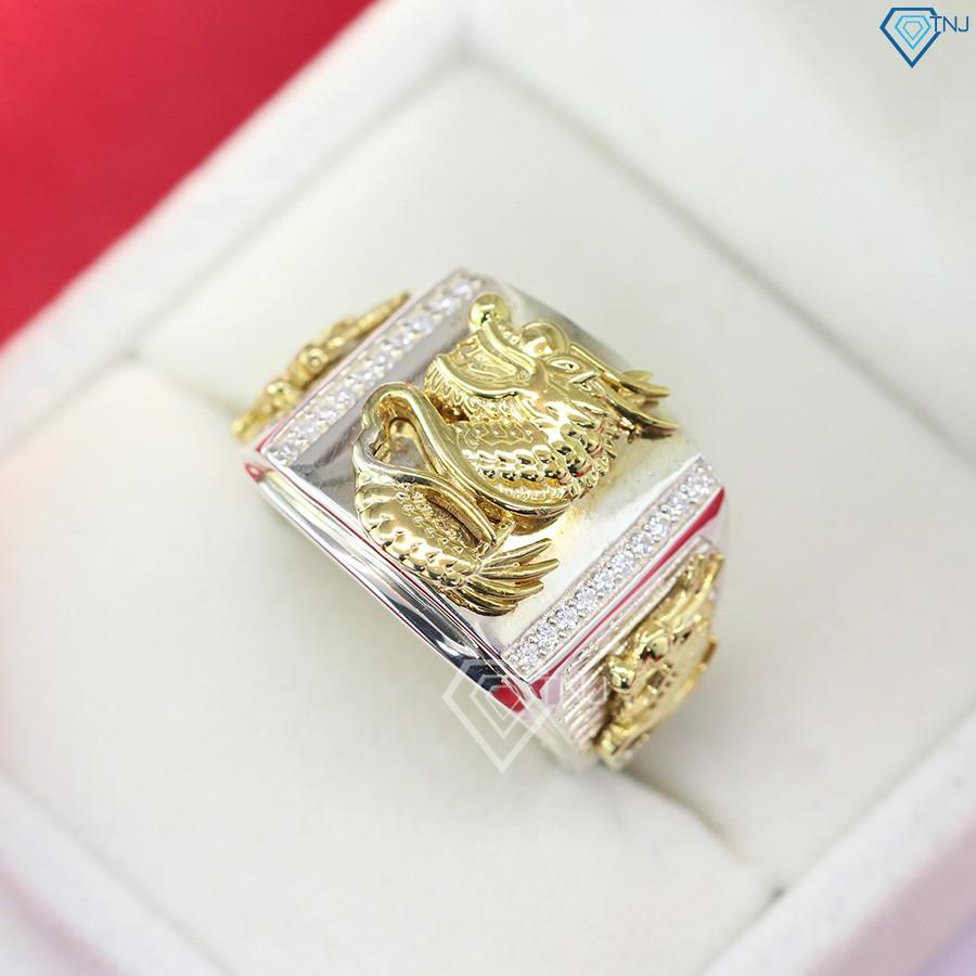 Nhẫn bạc nam hình rồng xi vàng tây NNA0089