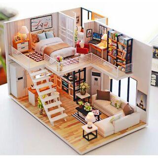 Mô hình nhà gỗ búp bê dollhouse DIY – Kèm mica – M013A Elegent