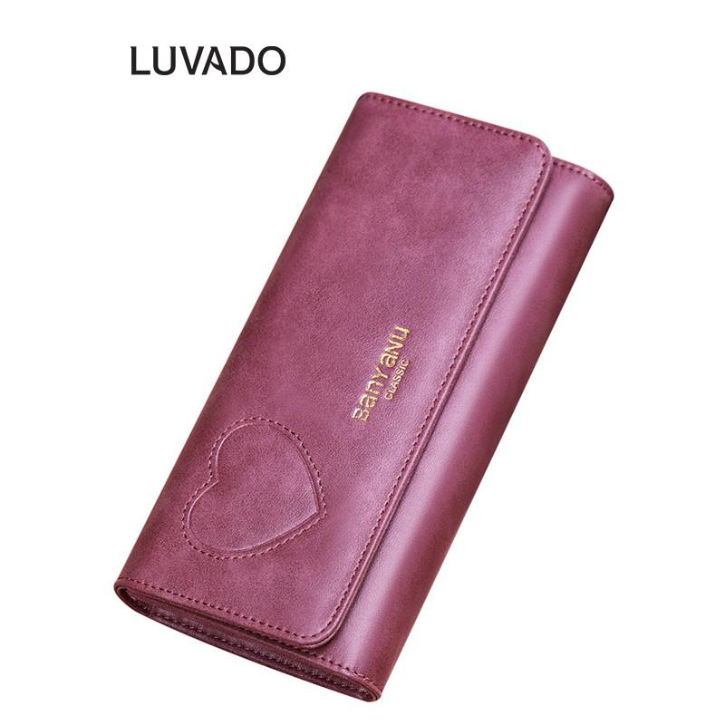 Ví nữ cầm tay đẹp da thật cao cấp BANYANU nhiều ngăn dáng dài đựng tiền LUVADO VD277