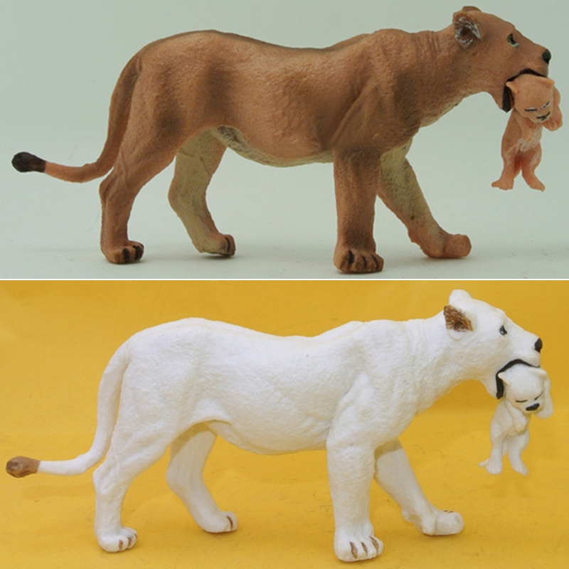 Vogue-Simulation Farm Animal Lion With Joey Model Figure Kids Toy Collectibles Gift