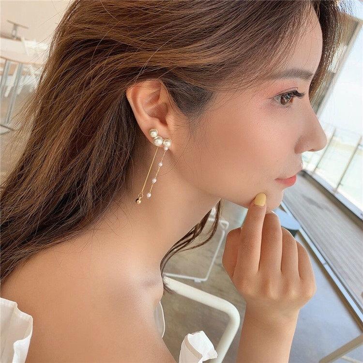 Khuyên tai xi mạ bạc thiết kế đính ngọc đẹp mắt S925