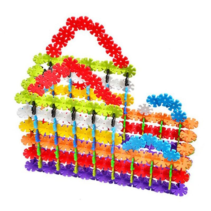 100Pcs/200Pcs Child Kid Multicolor Snowflake Building Blocks Educational Fun Toys