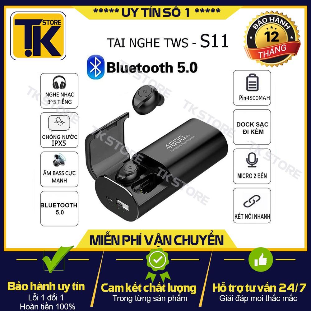 🌟SIÊU HÓT 🌟Tai nghe Bluetooth 5.0 S11 TWS Kiêm Sạc Dự Phòng 4800mAh - Chống nước IPX7 - {BẢO HÀNH ĐỔI MỚI}