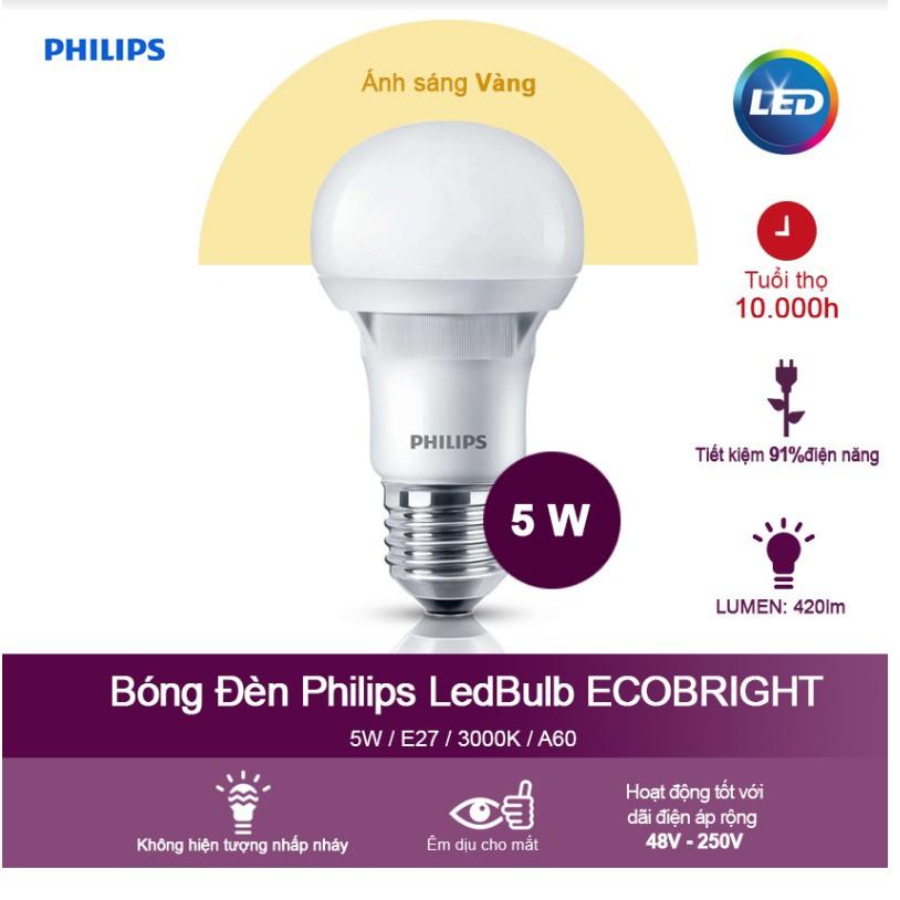 Bóng đèn Philips Ecobright LEDBulb 5W E27 A60 3000K - Ánh sáng vàng