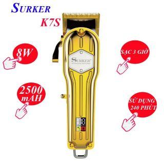 Tông đơ cắt tóc chuyên nghiệp SURKER K7S sắc bén màu vàng mạnh mẽ và sang trọng , vỏ thép nguyên khối rất đẹp