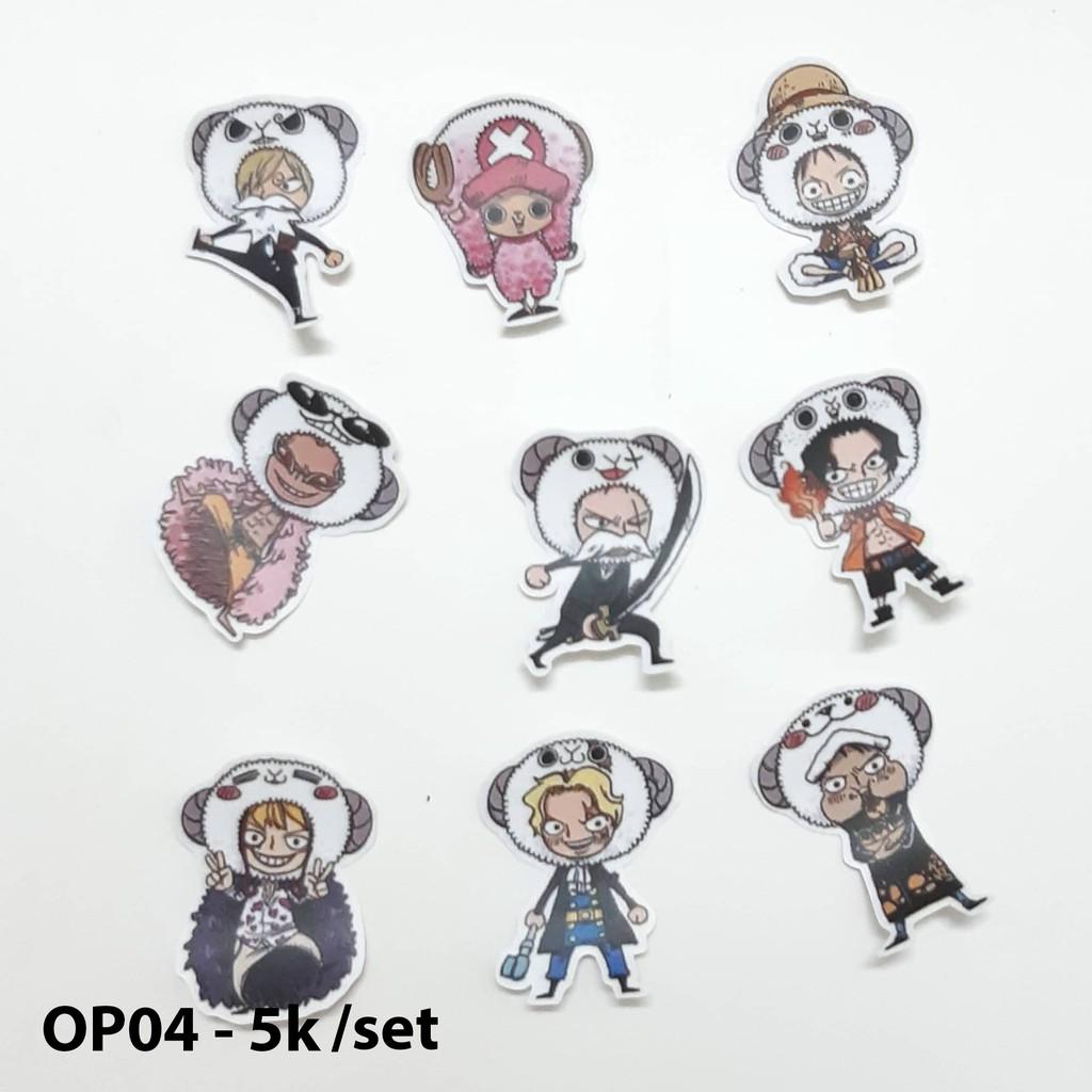 Sticker nhám onepiece (mẫu OP01-OP08) dán nón bảo hiểm, laptop, vali, sách, vở,.. size nhỏ 3-5cm
