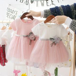 Váy Đầm Công chúa, Váy ren hoa hồng mềm mại ngọt ngào 2 màu chọn lựa