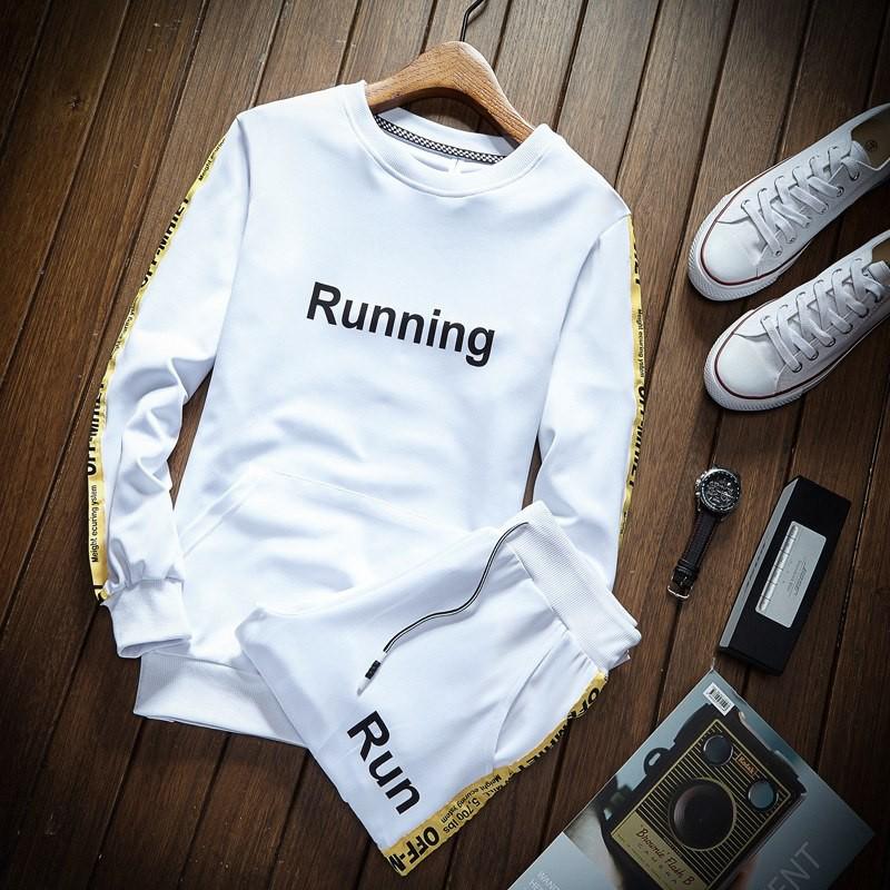 Wandergo Letter Fashion Tracksuit Set Solid Sweat Suit Men Track Suits Set