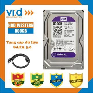 Ổ cứng  HDD   500GB Western tím  - Tặng cáp sata 3 Hàng đồng bộ tháo máy nhập khẩu từ Nhật Bản, Hàn Quốc mới 99% - BH 6T