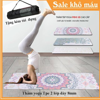 [TẶNG TÚI ĐỰNG VÀ DÂY BUỘC THẢM CAO CẤP] Thảm Tập Yoga/Gym TPE 1 lớp siêu bền ,Thảm yoga Tpe Họa Tiết Đẹp, Siêu Bám Sàn